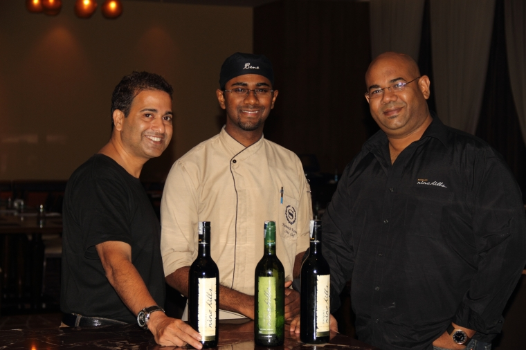 (L-R) Master Chef Michael Swamy, Chef Hemath Kumar and Mr. Adrian Pinto at Nine Hills Wine in Dinner @ Sheraton Bangalore